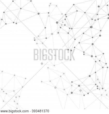 Social Media Communication Digital Concept. Network Nodes Greyscale Plexus Background. Circle Nodes