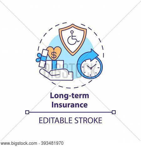 Long Term Insurance Concept Icon. Disability Insurance Types. Medical Compensation After Job Acciden