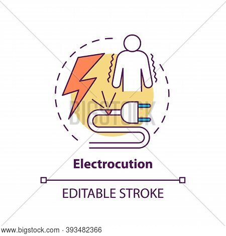 Electrocution Concept Icon. Work Related Injuries. Dangerous Job Vacancies. Working With High Voltag