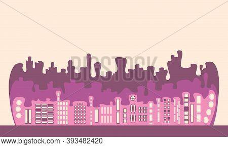 Purple Cartoon Stylized Buildings Silhouette With Window. Colorful Blots Line Of The City. Jpeg Illu