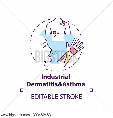 Industrial Dermatitis And Asthma Concept Icon. Occupational Sickness. Skin Problems Because Of Work