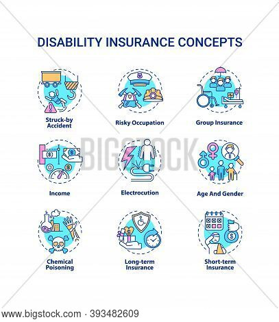 Disability Insurance Concept Icons Set. Struck By Accident. Risky Occupation. Group Insurance. Incom