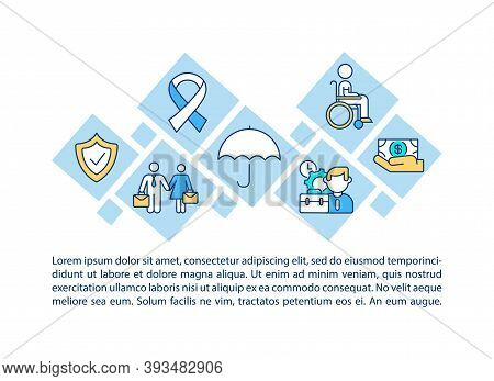 Disability Insurance Concept Icon With Text. Be Financially Protected. Regular Paycheck. Ppt Page Ve