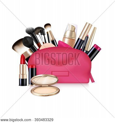 Bag With Cosmetics Realistic Composition With Isolated Image Of Open Vanity Case With Brushes And Li
