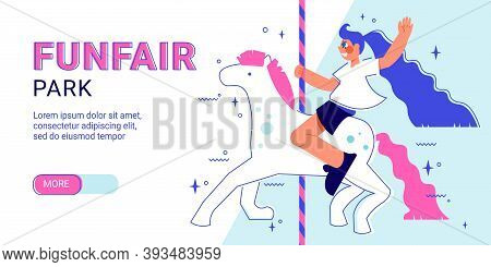 Funfair Amusement Park Horizontal Banner With Slider More Button Editable Text And Girl Character Ri