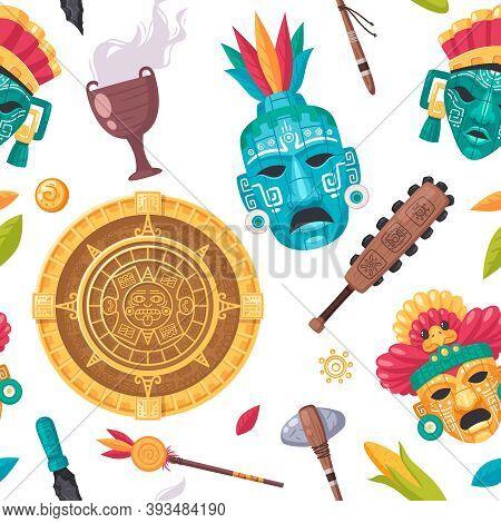 Maya Civilization Cartoon Seamless Pattern With Culture And Religion Symbols Vector Illustration