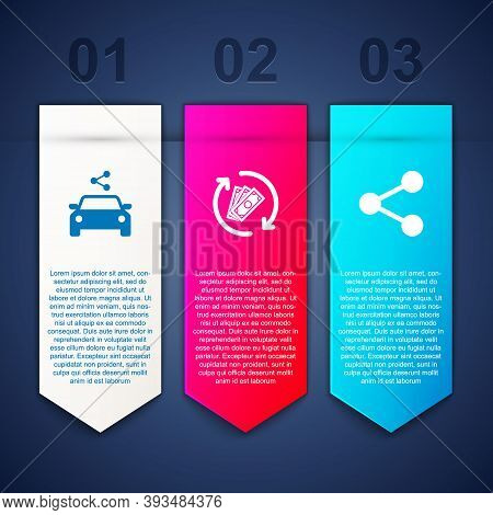 Set Car Sharing, Refund Money And Share. Business Infographic Template. Vector