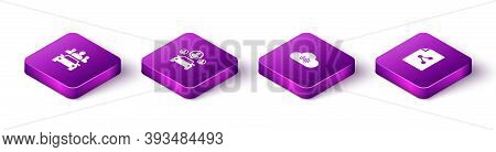 Set Isometric Car Sharing, , Music Streaming Service And Share File Icon. Vector