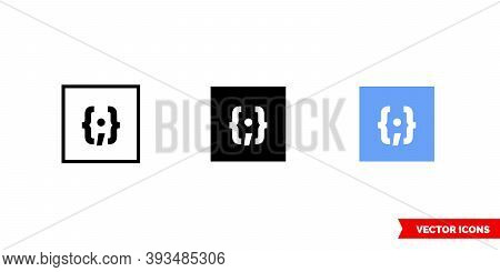 Placeholder Thumbnail Json Icon Of 3 Types Color, Black And White, Outline. Isolated Vector Sign Sym