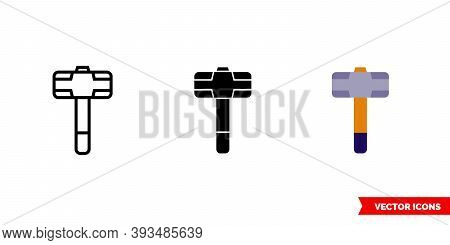 Sledgehammer Icon Of 3 Types Color, Black And White, Outline. Isolated Vector Sign Symbol.