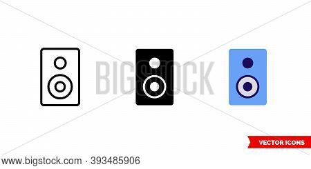 Subwoofer Icon Of 3 Types Color, Black And White, Outline. Isolated Vector Sign Symbol.
