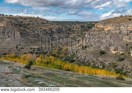 Hoces Del Duraton Canyon In The Province Of Segovia In One Of The Most Beautiful Natural Sites In Sp