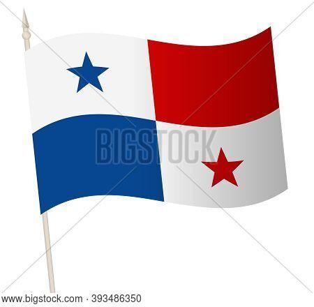 Vector Waving Flag On A Flagpole. The National Flag Of Panama.