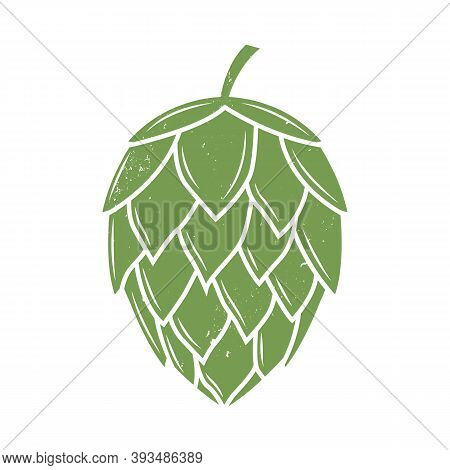Vintage Hop Icon With Grunge Texture. Beer, Pub Logo Design. Vector Illustration