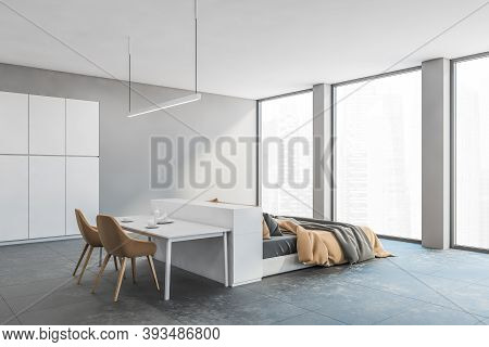 White Room Living Apartment Studio With Bed And Dining Table. Open Space Studio Hall Room With Bedro