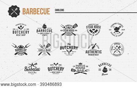 Barbecue, Steak House Vintage Logo Set. Set Of 14 Barbecue Restaurant Logo Templates. Trendy Bbq Gri