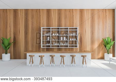 Light Wooden Cafe Interior With Wooden Bar Chairs, Wooden Wall With Bar Counter. Illustration Of Woo