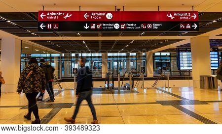 Schönefeld, Germany - November 1, 2020 - Passengers At The Newly Opened Berlin Brandenburg Airport (