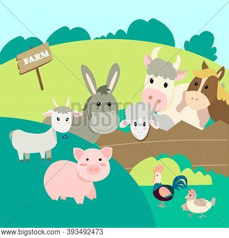 Farm Animals In The Landscape Background, Pig, Donkey, Cow, Rooster, Chicken, Goat, Sheep, Horse Pee