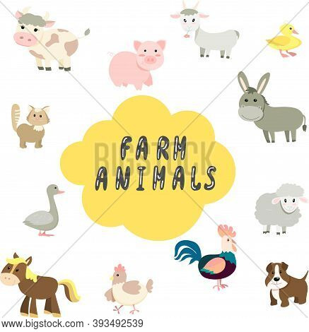 Cartoon Set Of Farm Animals In Flat Style, Cute Vector Illustrations With Hand Lettering, Cow, Pig,