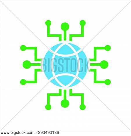 Globe Conection. Concept Of Global Conection Network. Vector Icon Concept.