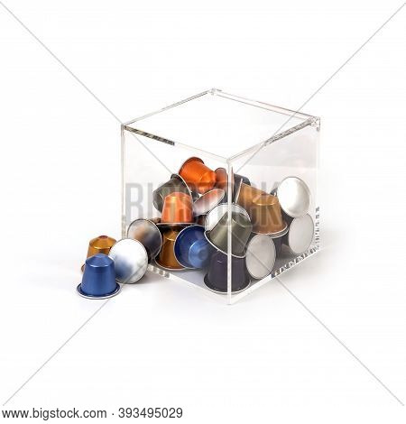 Multi-colored Capsules With Strong Coffee In Various Angles Isolated On A White Background