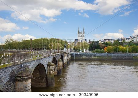 view of Angers  with  St Maurice, France