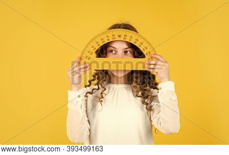 Back To School. Student Learning Geometry Yellow Background. Measure Angles In Degrees. School Lesso