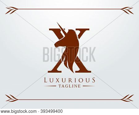 Capital Letter X With A Unicorn. Royal Logo. King Stallion In Jump. Unicon Letter Icon. Stylish Grap