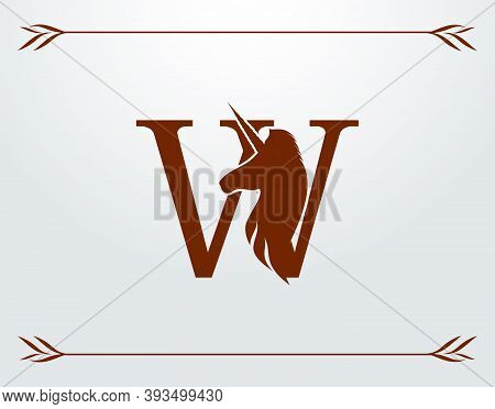 Capital Letter W With A Unicorn. Royal Logo. King Stallion In Jump. Unicon Letter Icon. Stylish Grap