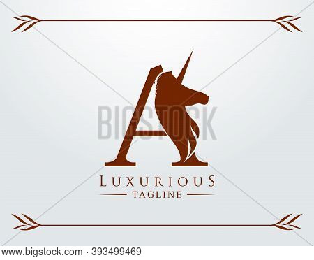 Capital Letter A With A Unicorn. Royal Logo. King Stallion In Jump. Unicon Letter Icon. Stylish Grap