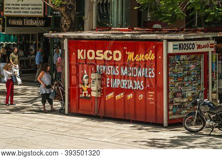 Buenos Aires, Argentina- December 19, 2008: Red Manolo Kiosk Is Shipping Container Contraption Selli