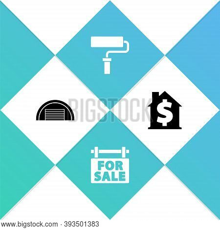 Set Garage, Hanging Sign With For Sale, Paint Roller Brush And House Dollar Symbol Icon. Vector