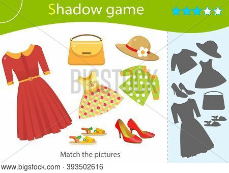 Shadow Game For Kids. Match The Right Shadow. Color Image Of Female Clothing. Red Dress, Women Shoes
