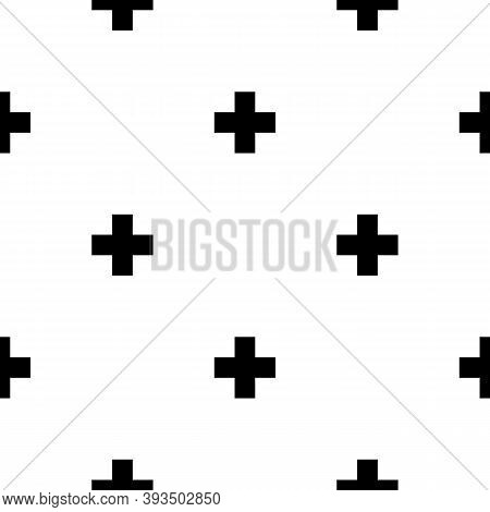 Seamless Pattern. Crosses Ornament. Ethnic Embroidery Background. Tribal Wallpaper. Ethnical Folk Im