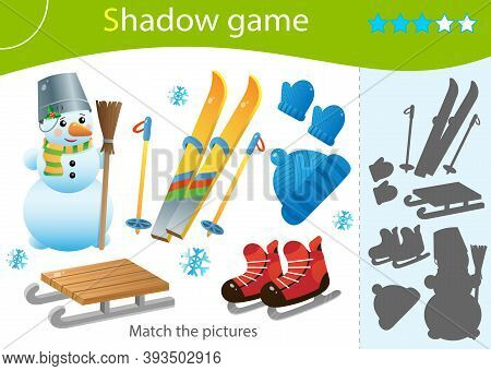 Shadow Game For Kids. Match The Right Shadow. Color Image Of Ski, Skates, Snowman, Wood Sledge, Cap,