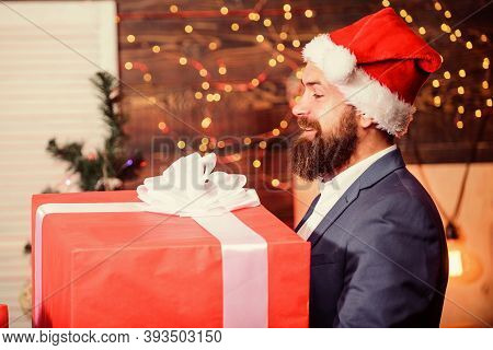 Celebrate Christmas With Giant Gifts. Big Wrapped Box With Ribbon. Great Surprise. Prepare Huge Surp