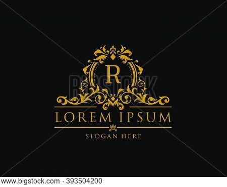 Royal Boutique Badge With R Letter Logo.classy Elegant Badge Design For Boutique, Royalty, Letter St
