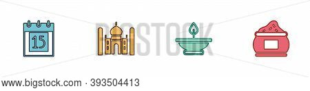 Set Independence Day India, Taj Mahal, Aroma Lamp And Indian Icon. Vector