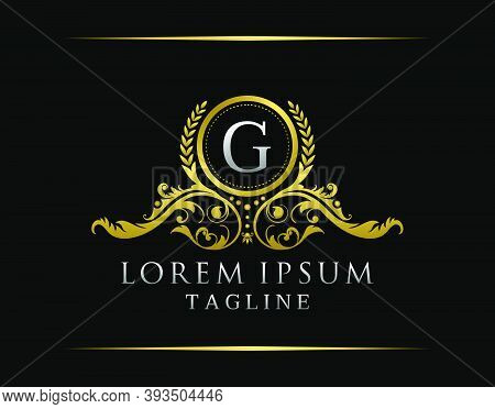Luxury Boutique G Letter Logo. Luxury Badge Gold Design For Boutique, Royalty, Letter Stamp,  Hotel,
