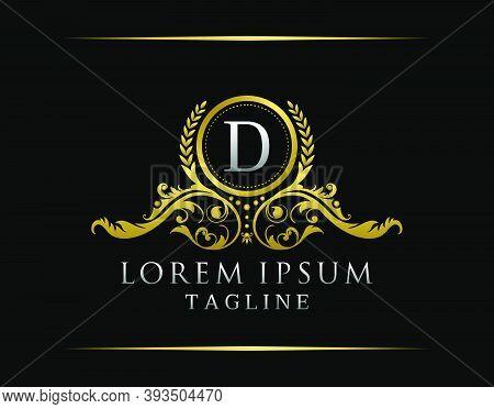 Luxury Boutique D Letter Logo. Luxury Badge Gold Design For Boutique, Royalty, Letter Stamp,  Hotel,