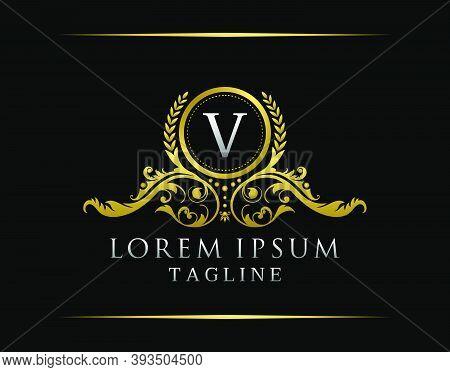 Luxury Boutique V Letter Logo. Luxury Badge Gold Design For Boutique, Royalty, Letter Stamp,  Hotel,
