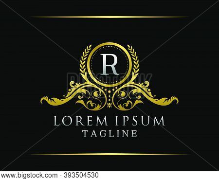 Luxury Boutique R Letter Logo. Luxury Badge Gold Design For Boutique, Royalty, Letter Stamp,  Hotel,