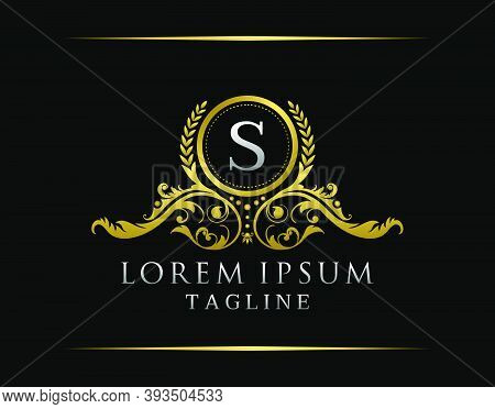 Luxury Boutique S Letter Logo. Luxury Badge Gold Design For Boutique, Royalty, Letter Stamp,  Hotel,
