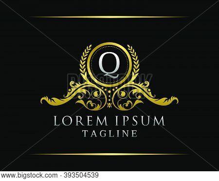 Luxury Boutique Q Letter Logo. Luxury Badge Gold Design For Boutique, Royalty, Letter Stamp,  Hotel,