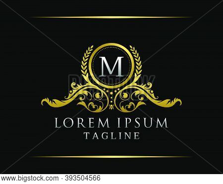 Luxury Boutique M Letter Logo. Luxury Badge Gold Design For Boutique, Royalty, Letter Stamp,  Hotel,