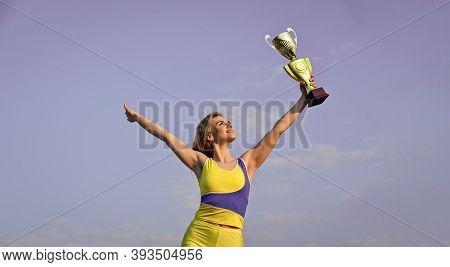 Well Deserved Reward. Achievement. Successful Athlete. Athletic Woman Leader. Sport Motivation. Spor