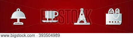 Set Covered With Tray, Coffee Cup, Eiffel Tower And French Baguette Bread Icon. Vector