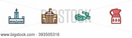 Set Montjuic Castle, Prado Museum, Churros And Chocolate And Sangria Pitcher Icon. Vector