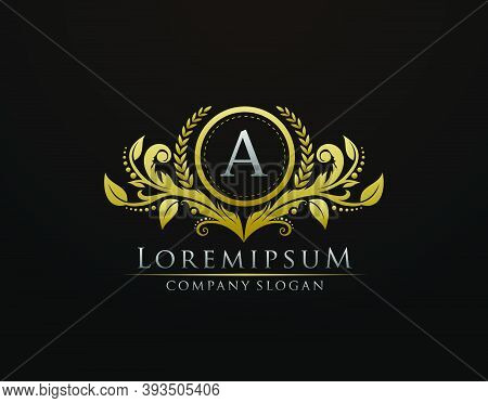 Luxury Gold Boutique Letter A Monogram Logo, Vintage Gold Badge With Classy Floral Design.